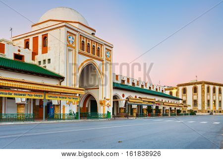 RHODES, GREECE - DECEMBER 06, 2016: New market building in town of Rhodes early in the morning on December 06, 2016.