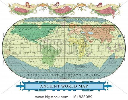 Vector old globe with decoration with nymphs