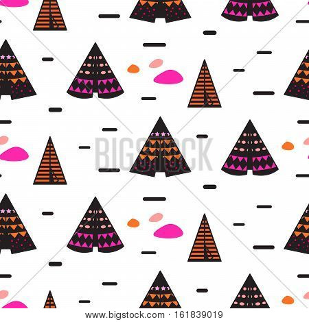 Scandinavian style black teepee on white seamless pattern. Tribal navajo background.