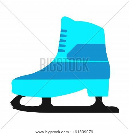 Winter Sports Equipment On White Background. Flat Isolated Skates Icon. Vector Illustration.