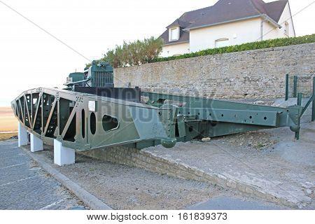 Whale pier bridge war remnant in Arromanches, France