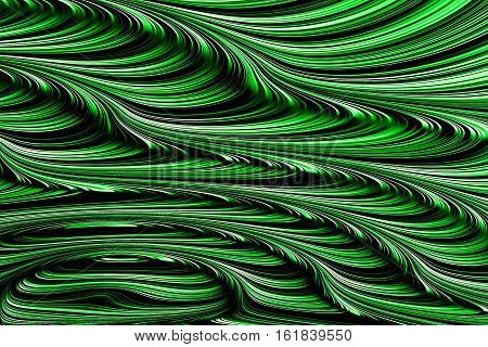 Abstract green striped fractal texture - digitally generated image. Chaos curls, curves and waves. Digital marbling. For covers, web design, posters.
