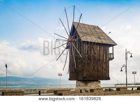 Nesebar Bulgaria - September 05 2014: Old windmill in the ancient town of Nesebar in Bulgaria. Bulgarian Black Sea coast. UNESCO world heritage site.