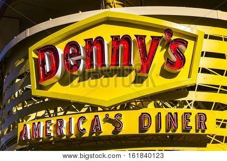 Las Vegas - Circa December 2016: Exterior of a Denny's Coffee Shop. Denny's is America's Diner III
