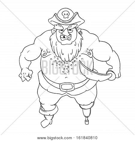 One-legged, bearded pirate in a cocked hat with a skull. Naked torso. Curved sword. Vector character design isolated on white background. Coloring page