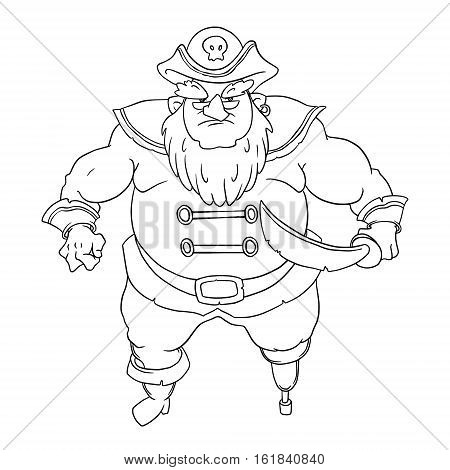 One-legged, bearded pirate in a cocked hat with a skull. Man in coat. Curved sword. Vector character design isolated on white background. Coloring page