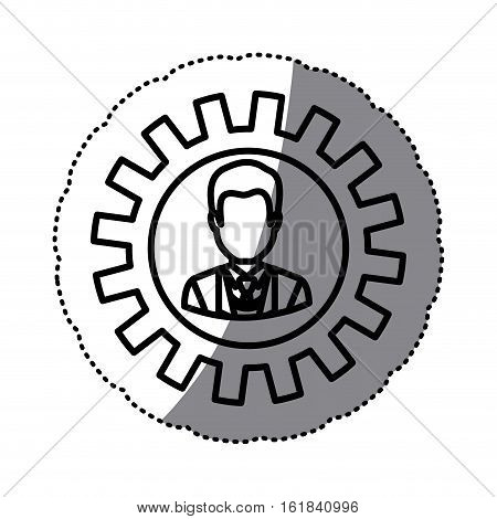 Gear and businessman icon. Teamwork people corporate and workforce theme. Isolated design. Vector illustration