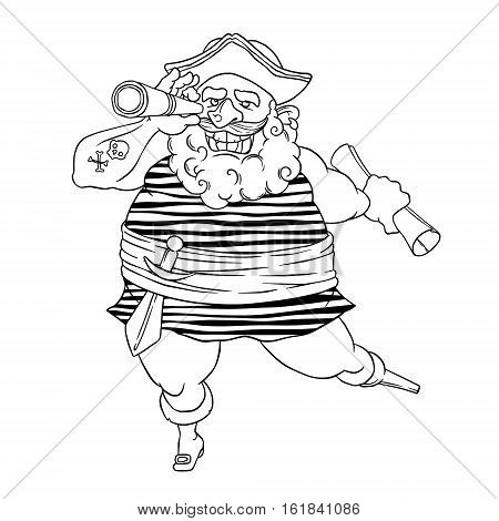 Happy tattooed pirate with a prosthetic, weapons, map and telescope. Cocked hat. Spyglass. Vector illustration isolated on white background. Coloring page