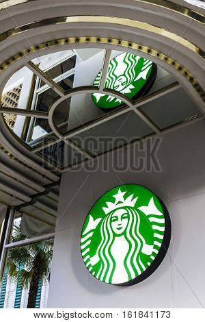 Las Vegas - Circa December 2016: Starbucks Retail Coffee Store. Starbucks Is An American Retail Coff