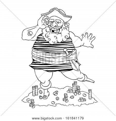 Happy tattooed pirate with a prosthetic device, agemstone in his hand and treasure. Cocked hat. Vector illustration isolated on white background. Coloring page
