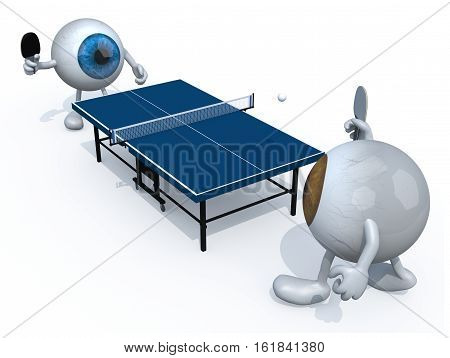 two eyes with arms and legs that playing to table tennis, 3d illustration
