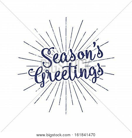 Christmas greetings lettering, holiday wish, saying and vintage label. Season's greetings calligraphy. Seasonal greeting typography design. Stock Vector Illustration. Retro style.