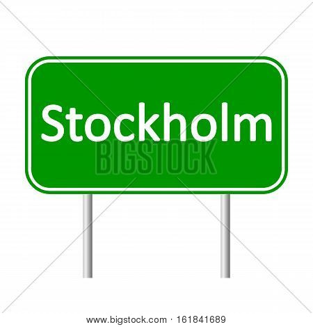 Stockholm road sign isolated on white background.