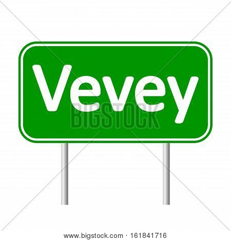 Vevey road sign isolated on white background.