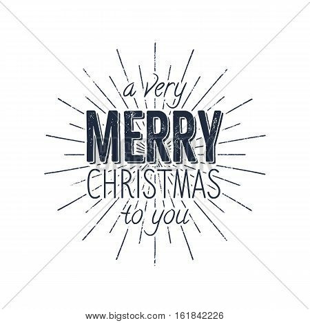 Avery Merry Christmas to you typography label. Retro photo overlay, badge. Vector holiday lettering illustration. Xmas greeting sign isolated. Rustic style. Stock vector illustration.