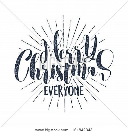 Merry Christmas everyone typography label. Retro photo overlay, badge. Vector holiday lettering illustration. Xmas greeting sign isolated. Rustic style. Stock illustration.