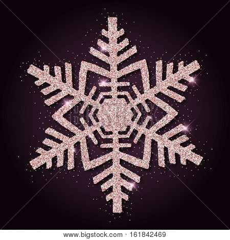 Pink Golden Glitter Magnificent Snowflake. Luxurious Christmas Design Element, Vector Illustration.