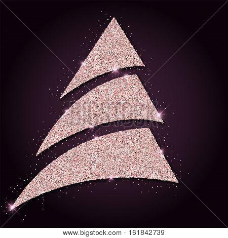 Pink Golden Glitter Graceful Christmas Tree. Luxurious Christmas Design Element, Vector Illustration