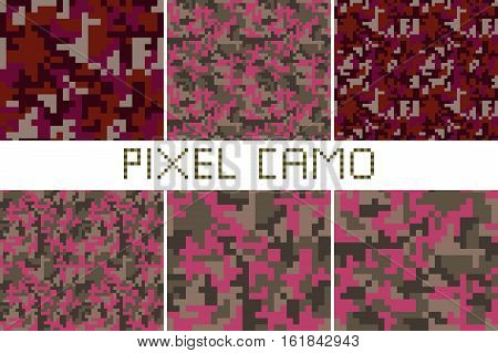 Pixel camo seamless pattern Big set. Green forest jungle urban pink brown camouflages. Vector fabric textile print designs