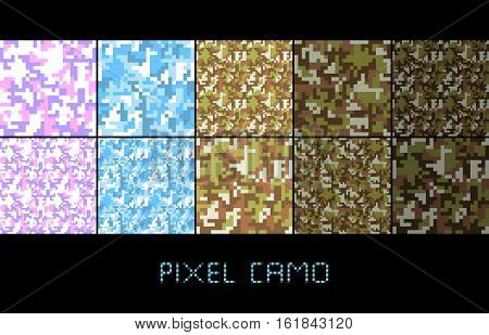 Pixel camo seamless pattern Big set. Green forest jungle urban pink blue brown camouflages. Vector fabric textile print designs