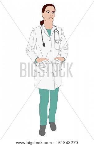 female doctor standing - vector  illustration