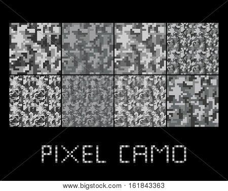 Pixel camo seamless pattern Big set. Urban grey camouflages. Vector fabric textile print designs