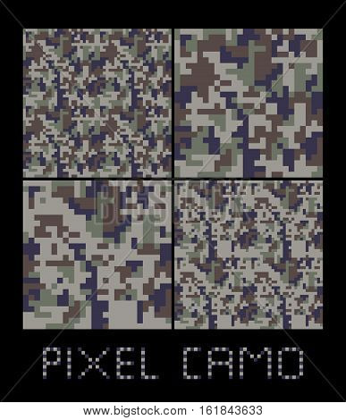 Pixel camo seamless pattern Big set. Green forest jungle grey urban brown camouflages. Vector fabric textile print designs
