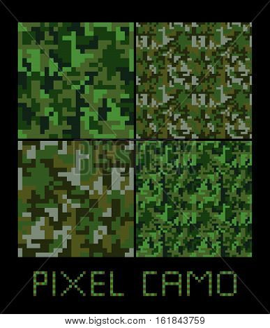 Pixel camo seamless pattern Big set. Green forest jungle urban brown camouflages. Vector fabric textile print designs
