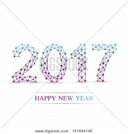 Text design Christmas and Happy new year 2017. Connected lines with dots. Lines plexus. Scientific cybernetic vector illustration
