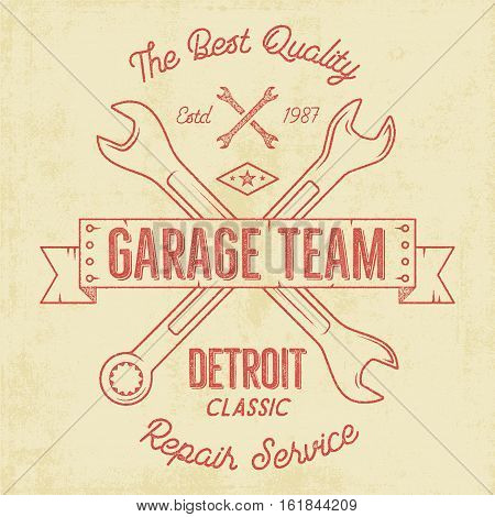 Garage service vintage tee design graphics, Detroit classic, repair service typography print. T-shirt stamp, teeshirt graphic, premium retro artwork. Use also as emblem, logo on web projects. .