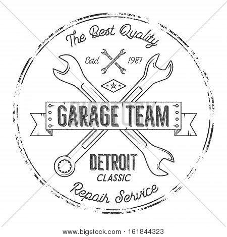 Garage service vintage tee design graphics, Detroit classic, repair service typography print. Black T-shirt stamp, teeshirt graphic, premium retro artwork. Use as emblem, logo on web projects. .