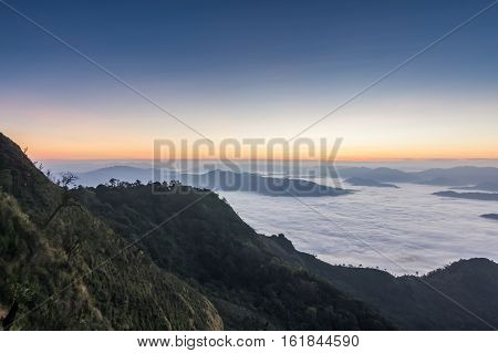 Beautiful Sunrise of travel place view the peak of mountain at Phu chi dao in Chiangrai,Thailand