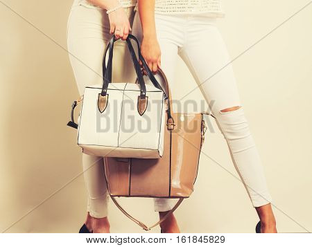 Fashionable Girls With Bags Handbags.