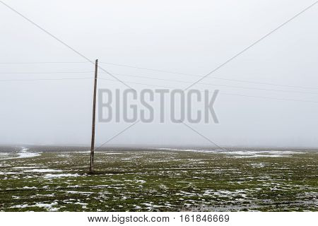 Single Electric pole in a field with snow in winter.