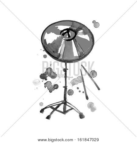 Musical Instrument. Watercolor Golden Cymbal. Isolated on a White background