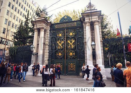 ISTANBUL TURKEY - OCTOBER 6 2014: The main gate to the Galatasaray High School the most influential high schools in modern Turkey. Located in Istiklal street of Istanbul