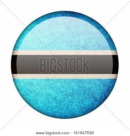 Botswana button flag isolated on white background  ,3D illustration