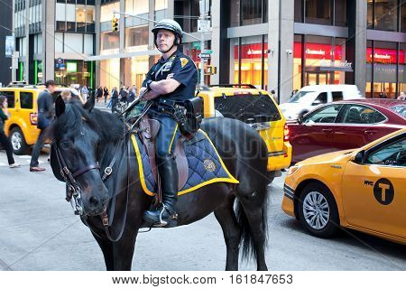 NEW YORK CITYUSA - september 24 2015: New York Police officer on horseback as part of the highly visible security