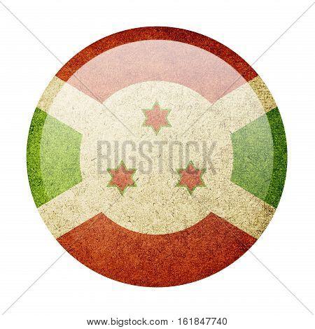 Burundi button flag isolated on white background  ,3D illustration