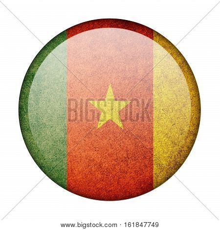 Cameroon button flag isolated on white background  ,3D illustration