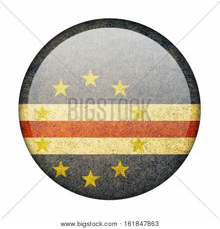 Cape Verde button flag isolated on white background  ,3D illustration