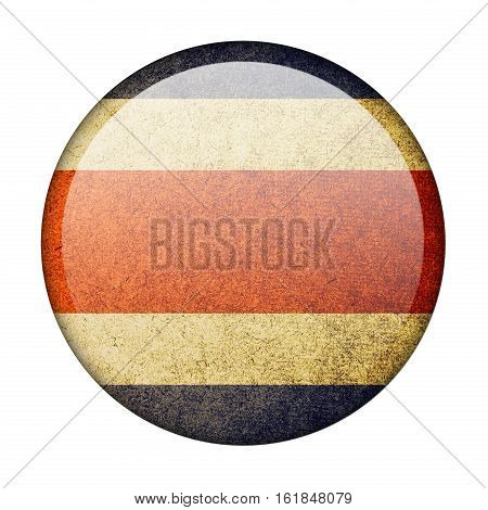 Costa Rica button flag isolated on white background  ,3D illustration