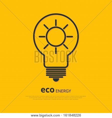Yellow outline bulb with sun as logo with copyspace on orange background. Idea of eco-friendly source of energy