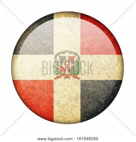 Dominican Republic button flag isolatde on white background  ,3D illustration