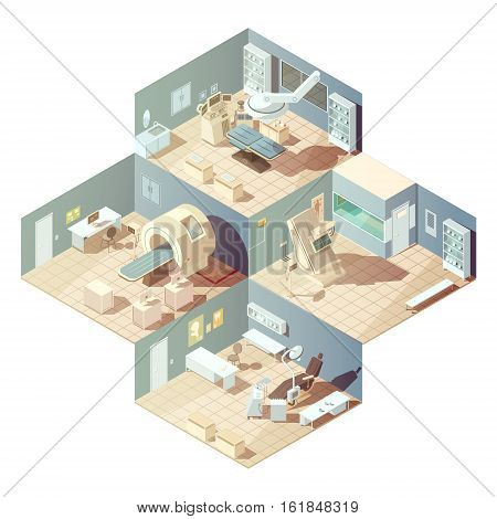 Isometric hospital rooms with various equipment for examination concept on white background vector illustration