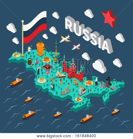 Russia isometric touristic map with various russian culture symbols vector illustration