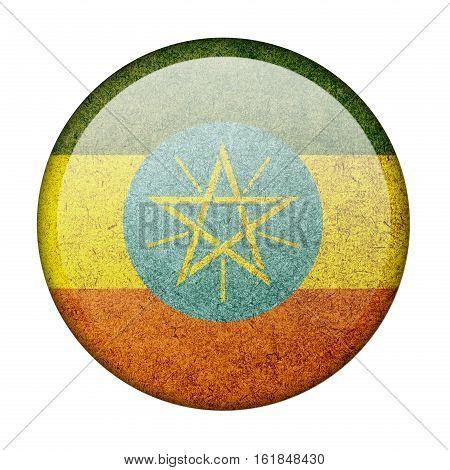 Ethiopia button flag isolated on white background  ,3D illustration
