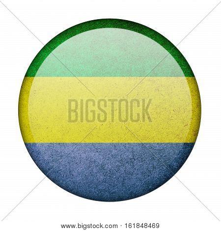 Gabon button flag isolated on white background  ,3D illustration