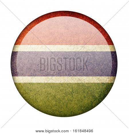 Gambia button flag  isolate  on white background,3D illustration.