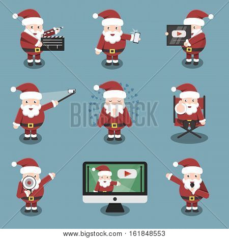 Collection of vector cartoon Santa Claus character in social media and blogging situations and poses. Concept of Merry Christmas and Happy New Year.